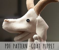 PDF PATTERN - Sew your own hand animal puppet - goat