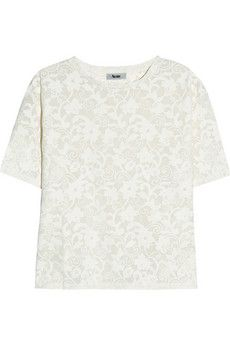 lacy-effect jersey t-shirt