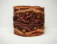 Statement bracelet cuff Leather wristband Creamy white real genuine leather adjustable bracelet cuff with vanilla giant clam carved flower