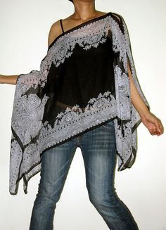 Gypsy Scarf Caftan Wing Casual Poncho Cover Top by Izzashop - two lovely scarves, just add buttons! #diy