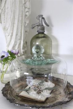 se – French Glass Cover 2 sizes jeanne D'arc living shabby chic country style Source Vintage Bottles, Bottles And Jars, Glass Bottles, Jeanne Darc Living, Carafe, The Bell Jar, Bell Jars, Apothecary Jars, Glass Domes