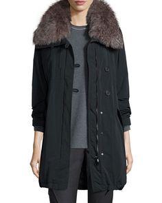W09F0 Brunello Cucinelli Parka w/ Fox Fur Collar, Onyx