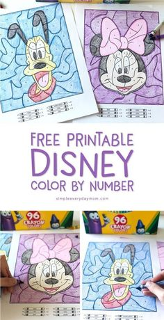 Disney Color By Number Printables | Download these free printable coloring pages for kindergarten and first grade students. They're great for quiet time and help reinforce number identification, fine motor skills, color recognition and more! #kidsactivi Disney Activities, Craft Activities For Kids, Preschool Activities, Disney Crafts For Kids, Activity Pages For Kids Free Printables, Car Trip Activities, Kids Diy, Disney Diy, Disney Trips