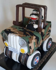 Camouflage Jeep Diaper Cake www.facebook.com/DiaperCakesbyDiana