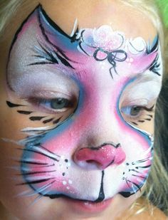 one stroke kitty cat face paint design Face Painting Images, Animal Face Paintings, Face Painting Tips, Adult Face Painting, Face Painting Designs, Animal Faces, Painting For Kids, Kitty Face Paint, Cat Face