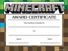 Certificate, Minecraft, Awards - Free Printable Ideas from Family Shoppingbag.com