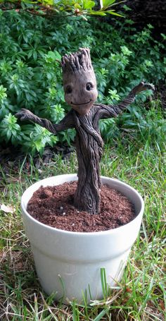 Inspired by Guardians of the Galaxy, Baby Groot with flowerpot stand on Etsy, $100.00