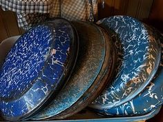 Spatter ware tins. I would love to spend a day cleaning these splatterware pieces. One of my favorite things to do.