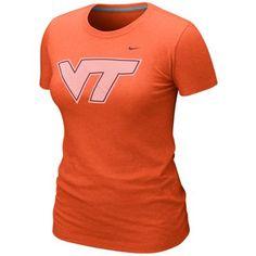 Nike Virginia Tech Hokies Ladies Blended Graphic Tri-Blend T-Shirt - Orange
