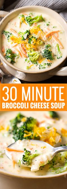 Copycat 30 Minute Broccoli Cheese Soup | Dinner is ready in a flash with this 30 minute broccoli cheese soup! Loaded with flavor, it's a Panera Bread copycat recipe! | http://thechunkychef.com