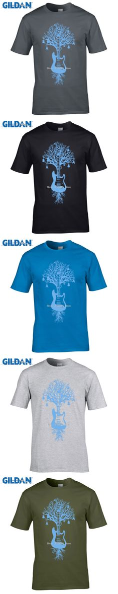 GILDAN DIY print t shirt   Guitar Tree Graphic Music Art Banksy Man T-Shirt