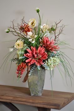 this coral to beige range color scheme is on trend for this year in a lichen finish container from Trees n Trends custom florals Contemporary Flower Arrangements, Spring Flower Arrangements, Artificial Floral Arrangements, Beautiful Flower Arrangements, Floral Centerpieces, Flower Vases, Artificial Flowers, Spring Flowers, Silk Flowers