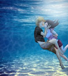 """#percyjackson I watched """"H2o just add water"""", because I wanted to see some of my childhood series (this was my freaking life, u have no idea). And there was this scene where will and Bella kissed underwater. And I was like: """"OMG. CUTE! Why can't Adrien and Mari kiss underwater?"""". And well... then I searched for underwater kiss pics.. this was my result ❤ - - And to everyone. This pose wasn't my idea. It's from """"Percy Jackson + annabeth chase underwater kiss"""" and I tried to draw their pos..."""