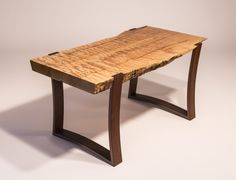 Live edge curly bigleaf (Oregon) maple slab coffee table with curved ipe legs - Reader's Gallery - Fine Woodworking