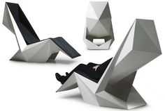 """12 Seats for Maximum Relaxation POWER'NAP designed by Ninna Helena Olsen: an origami-like design """"gently encloses your body"""" while looking like a work of art. Funky Furniture, Unique Furniture, Furniture Decor, Furniture Design, Plywood Furniture, Luxury Furniture, Origami Design, Origami Furniture, Power Nap"""