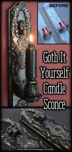 DIY Gothic Baroque Skull Candle Sconce How to transform a thrift store sconce using Iron Orchid Molds Escucheons 2 and Baroque No 1 Paper Clay Casting Faux Antique Finish Goth Home Decor Grecian Gold Rub n Buff Annabel Lee, Goth Home Decor, Cheap Home Decor, Diy Home Decor, Room Decor, Rub N Buff, Diy Design, Jar Crafts, Decor Crafts