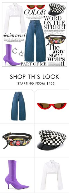 """I Double Flare You"" by neon-fox ❤ liked on Polyvore featuring Marques'Almeida, PAWAKA, Moschino, Manokhi, Balenciaga, Off-White, Corto Moltedo, denimtrend and widelegjeans"