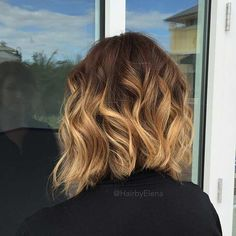 Curly Angled Balayage Lob