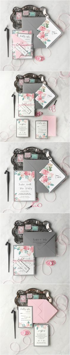 Watercolor Lace Wedding Invitations #floral #flowers #watercolor #weddingstationery #lace #handmade #calligraphy
