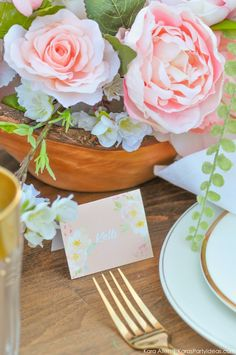Looking for a perfectly styled Garden Party Tablescape + Free Printables? Kara's Party Ideas presents a rustic and chic tablescape that you have to see! Shower Party, Bridal Shower, Flower Decorations, Table Decorations, Wedding Guest Book, Event Decor, Kara, Tablescapes, Free Printables