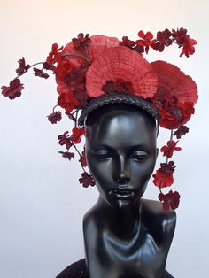 RESERVED FOR LILY: Red Fungus & Flower Headpiece. $240.00, via Etsy.