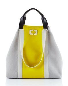 Diane von Furstenberg Kaya Colorblock Canvas Tote, Yellow (I love!)