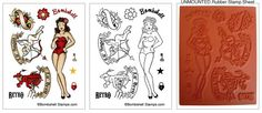 Bombshell Angel Rubber Stamp set with retro pinup girl stamp that can be dressed like a paper doll!