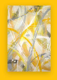 "Abstract Art Acrylic Painting on gallery canvas Titled: Light Again 24x36x1.5"" by Ora Birenbaum"