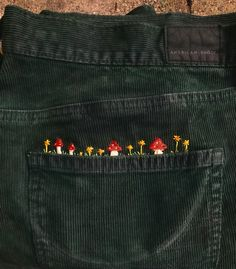embroidered my corduroys today - Embroidery Cute Embroidery, Cross Stitch Embroidery, Embroidery Patterns, Embroidery On Jeans, Hand Embroidery Designs, Look Fashion, Diy Fashion, Fashion Tips, 2000s Fashion