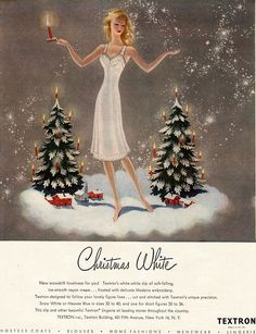Textron fabrics Christmas advertisement, 1940's, Christmas White, lingerie ad, illustrator Charlotte J. Sternberg.
