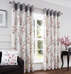 I think these would look great with blush walls and a grey carpet. Much nicer th., I think these would look great with blush walls and a grey carpet. Much nicer than a block colour. Pink And Grey Curtains, Gray Shower Curtains, Floral Curtains, Colorful Curtains, Blush Curtains, Printed Curtains, Home Curtains, Curtains With Blinds, White Blinds