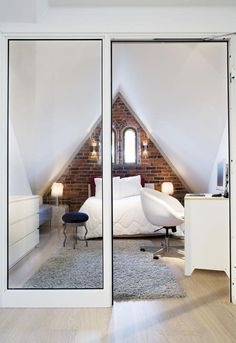 Tiny bedroom layout and love the glass wall/door. Could totally rock this by…