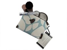 Brown, Blue, Ivory Floral Makeup Bag - Premier Prints Helen - Zipper Cosmetic Bag - X-Small Notions Pouch - Accessories Pouch - Mom Gift by TalfourdJones on Etsy