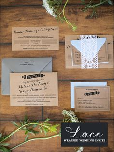 lace wrapped wedding invite