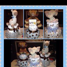 Animal themed baby shower diaper cakes <3