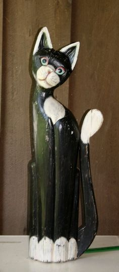 "VINTAGE HAND CARVED LARGE 32"" TALL CAT FIGURINE STATUE WALL DECOR FOLK ART PIECE #Handmade"