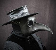 Maschera del medico di peste Maximus in pelle nera