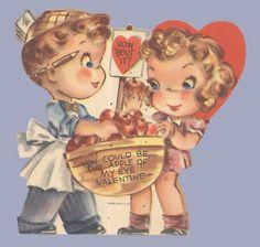 Vintage Valentine Day Card Apple of My Eye Grocer 1940s