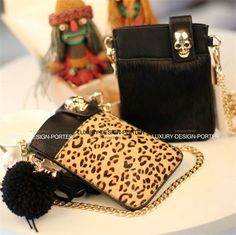 Designer Skull leatherette phone bag Clutch Purse Shoulder Bag Crossbody Chain bag Bolsa