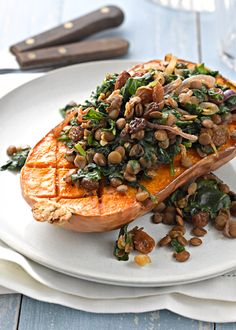 Butternut Squash Stuffed with Lentils and Spinach