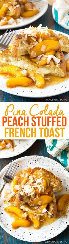 Peach Pina Colada Stuffed French Toast - An easy stuffed french toast recipe with cream cheese, pineapple, coconut, and peach maple syrup! Breakfast Bread Recipes, Mexican Breakfast Recipes, Breakfast Bites, Delicious Breakfast Recipes, Sweet Breakfast, Overnight Breakfast, Breakfast Casserole, French Toast Sandwich, Waffle Recipes