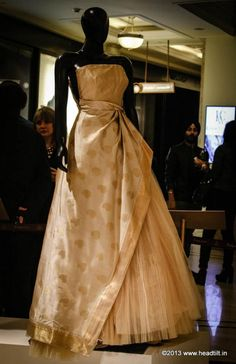 """Vogue's Project Renaissance, The Grand Revival! ALBERTA FERRETTI for Kanchipuram silk  """"I reinterpreted this beautiful fabric to realise something different from the traditional sari—I wanted to show [its] versatility, richness and allure"""" — Alberta Ferretti."""