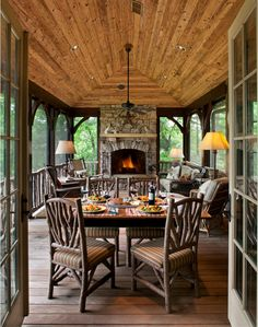 This makes me want to start the floor plans for our country home. right MEOW! Awesome screened in porch idea:) Rustic Family Room Design, Pictures, Remodel, Decor and Ideas - page 165 by Sacagawea Outdoor Rooms, Outdoor Living, Indoor Outdoor, Outdoor Kitchens, Outdoor Patios, Outdoor Lamps, Outdoor Areas, Enclosed Porches, Screened Porches