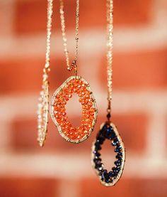 Iridescent Beaded Pendant Necklaces @Aaraa Accessories