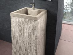 Rectangular column washbasin Borneo, stone washbasin with tap ledge, without overflow and no wall-mounting possibility.