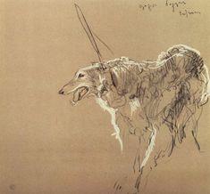 Sweetest dog portrait by Valentin Serov - Greyhound royal hunting, 1902