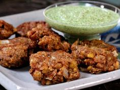 Get Bal Arneson's Refried Bean Pakoras with Cilantro and Coconut Chutney Recipe from Cooking Channel