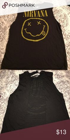 nirvana muscle tank Nirvana tank top with super cute cut out down the back Forever 21 Tops Muscle Tees