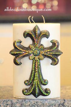 Decorative Candle Pin | Embellished Chameleon Crystals Extra Large CrossEMBELLISHED
