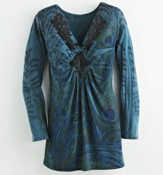 Lace-Appliqué Peacock Top from Midnight Velvet®